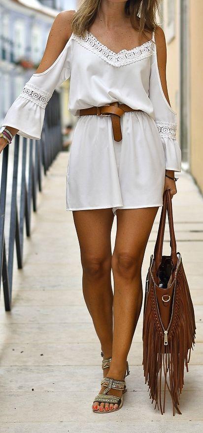 White Cold Shoulder Lace Panel Cami Romper Playsuit - Choies.com
