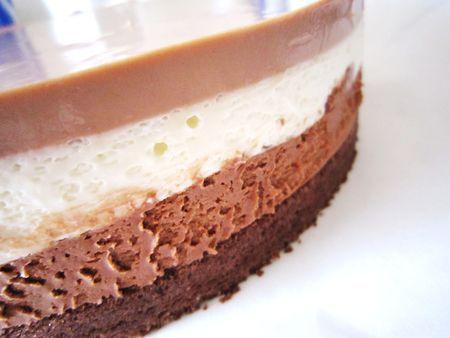 gateau mousse 3 chocolats , cercle 24 cm