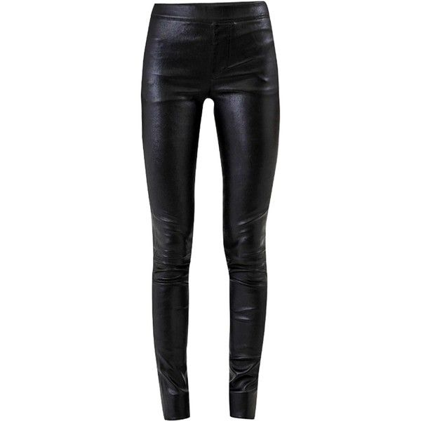 Helmut Lang Stretch Leather Leggings ($1,235) ❤ liked on Polyvore featuring pants, leggings, bottoms, elastic waist pants, leather leggings, elastic waistband pants, stretch leggings and stretchy pants