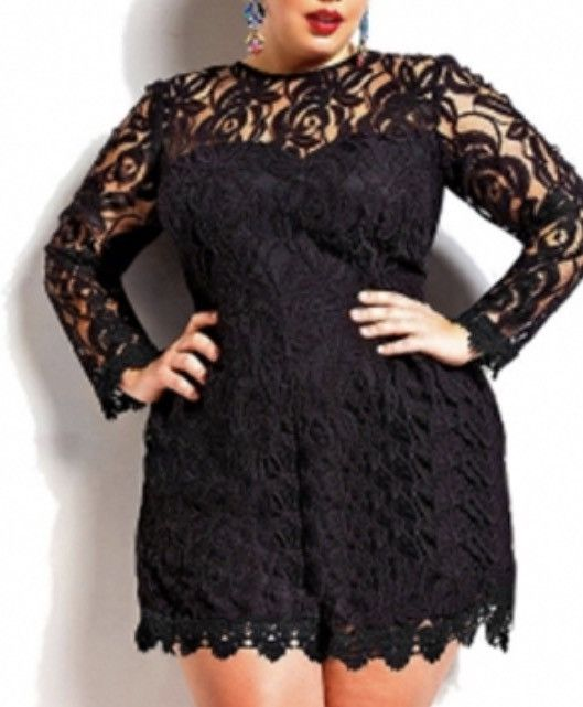 Plus Size Fashion Solid Black Lace Jumpsuit