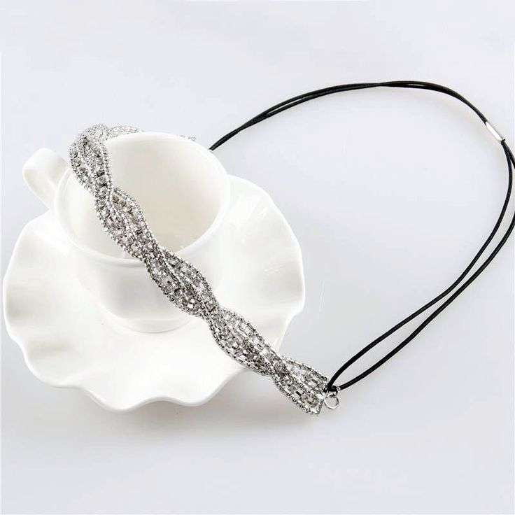 Women Rhinestone Twisted Headband Handmade Crystal Beads Headbands Fashion Hair Accessories 1H1023