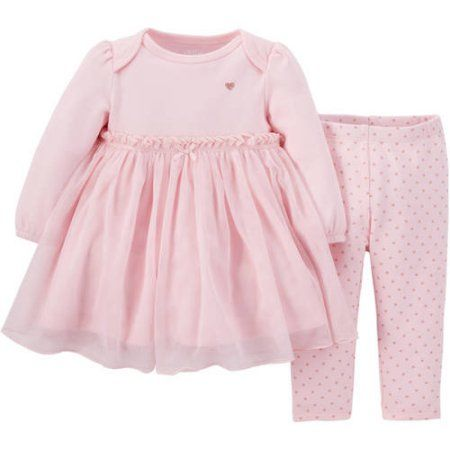 Child Of Mine by Carter's Newborn Baby Girl Dress and Pants Outfit Set, Pink