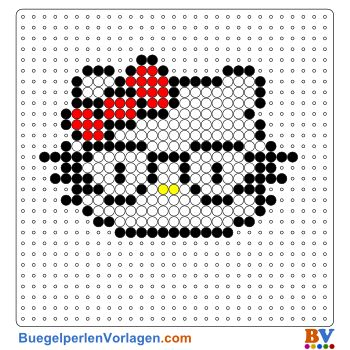 Hello Kitty mit Brille Bügelperlen Vorlage