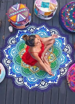 Mandala Lotus Flower Shape Beach Blanket
