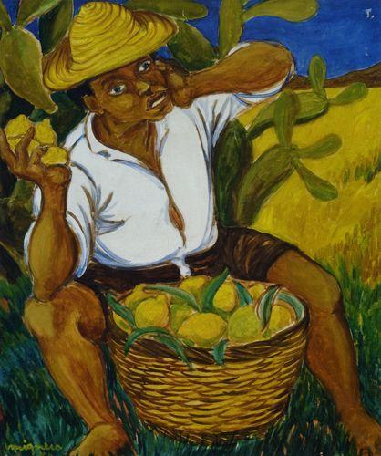 Giuseppe Migneco Raccoglitore di limoni, 1954 Olio su tela, cm 50x60