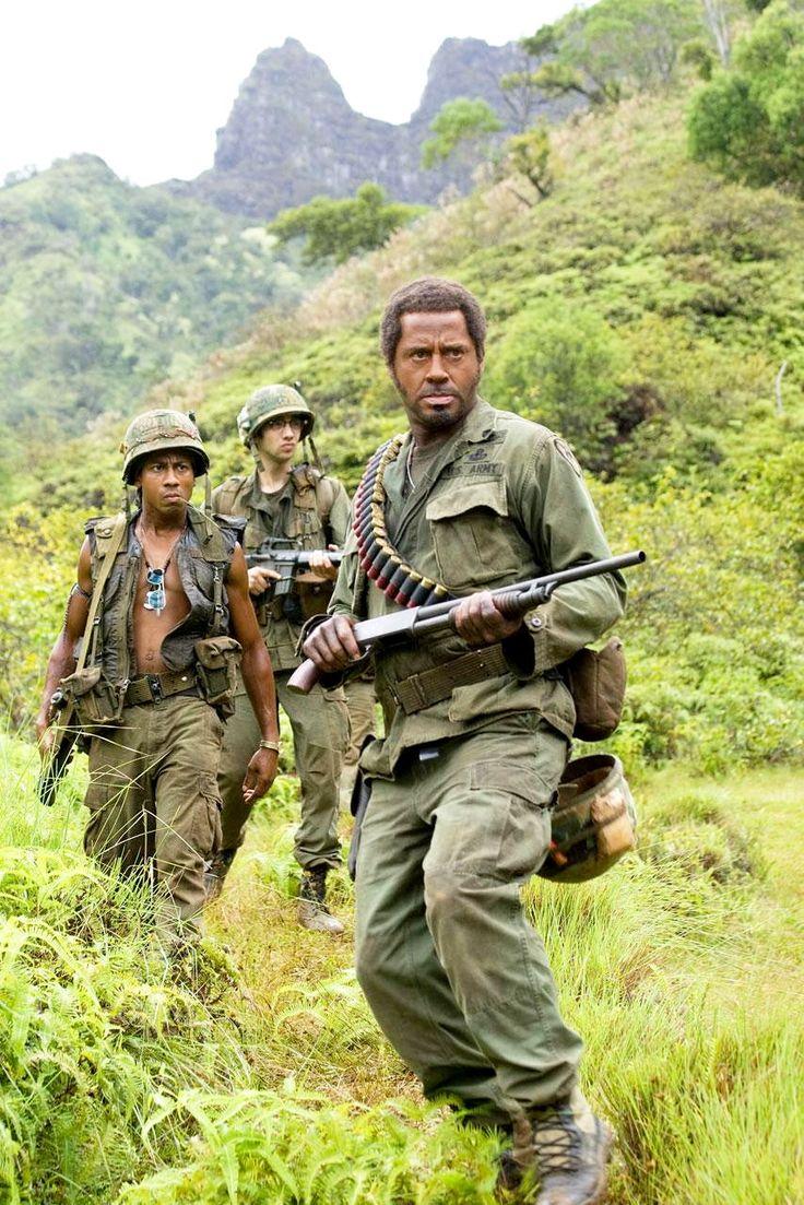 Brandon T. Jackson as Alpa Chino, Jay Baruchel as Kevin Sandusky & Robert Downey Jr. as Kirk Lazarus - Tropic Thunder #film #movie #action