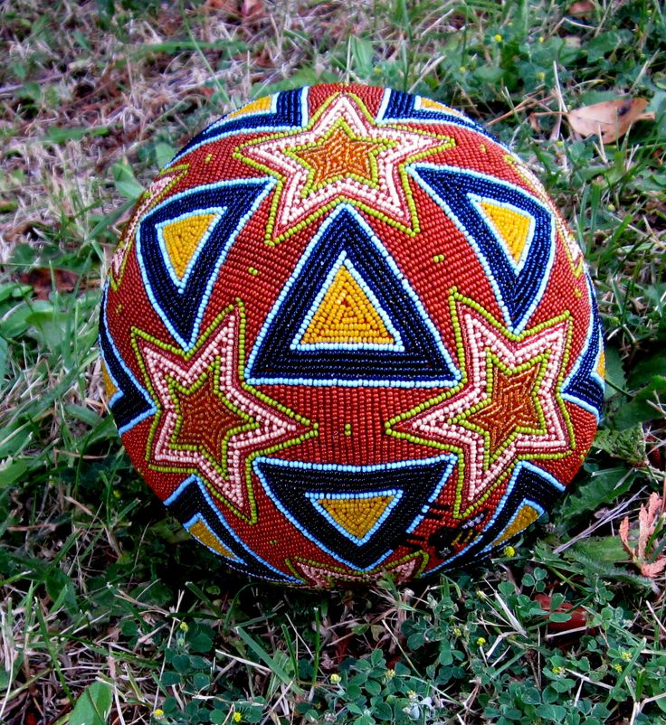 This sphere is made using ageometric form called icosadodecahedron. A combination of pentagram and equilateral triangle. The surface design grid is translated from a pattern used in the world o…