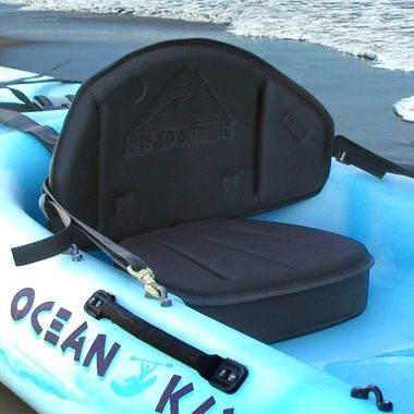 The Drifter Kayak Seat from Surf to Summit is highly durable and the channeled seat pad sheds water. A handy pack keeps your gear and tackle in a nearby, easy-to-reach location.