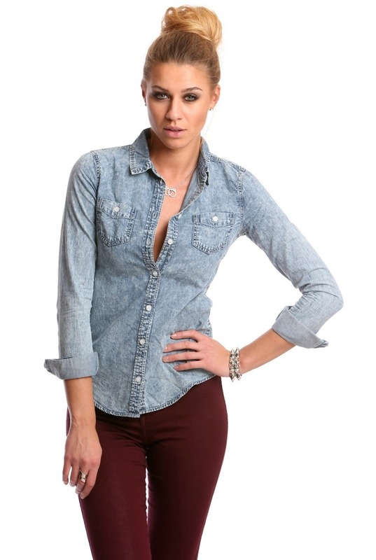 Acid wash chambray shirt interest pinterest chambray for Chambray jeans