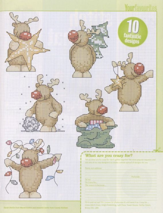 Crazy for Rudolph - page 2 (See page 1 for colour chart)