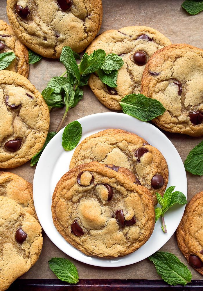 Fresh mint chocolate chip cookies.  Homemade chocolate chip cookies made with mint leaves.