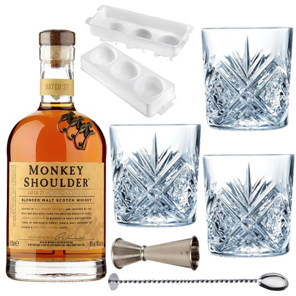 <strong>Old Fashioned Lovers Cocktail Set </strong>- The perfect gift for the Whisky connoisseur in your life.    1 x Cocktail Jigger  3x Crystal Old Fashioned Glasses  1 x Japanese Circular ice mold  1 x Cocktail Spoon  1 x Monkey Shoulder Scotch Whisky 70cl