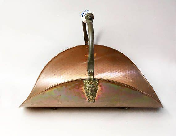 French Vintage Hammered Copper Log Holder Copper Log Basket