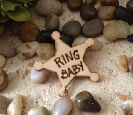 Ring Baby Ring Bearer Small Badge for the Little Guy - SO Adorable Rustic Chic Wedding Decoration. $8.99, via Etsy.