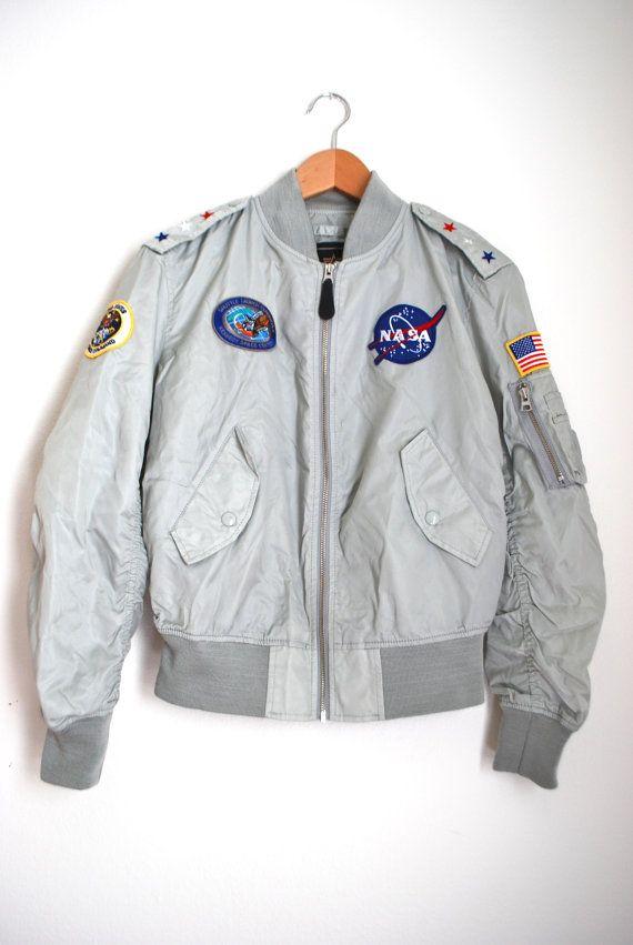 Vintage 70s 80s Space Commander Nylon Bomber by littlelightVTG