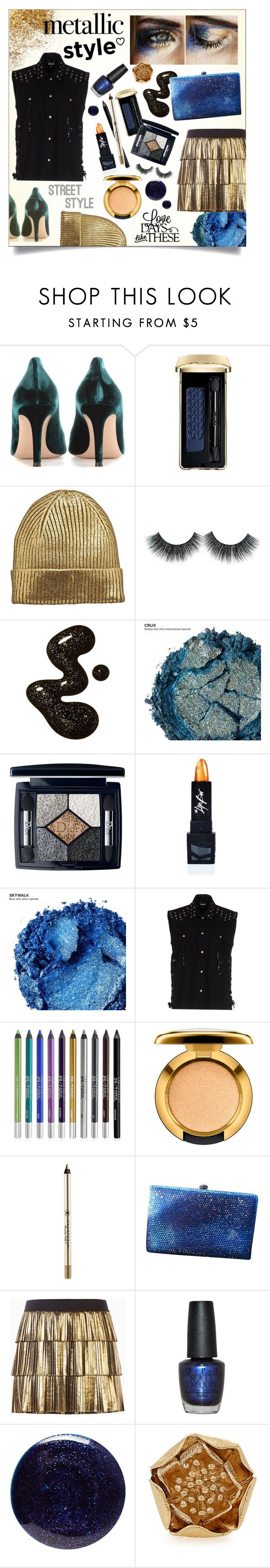 """Trending In My Town: Metallics"" by angie-in-reverie ❤ liked on Polyvore featuring Gianvito Rossi, Guerlain, Urban Decay, Christian Dior, The Lip Bar, Just Cavalli, Anastasia Beverly Hills, Anthropologie, BCBGMAXAZRIA and OPI"