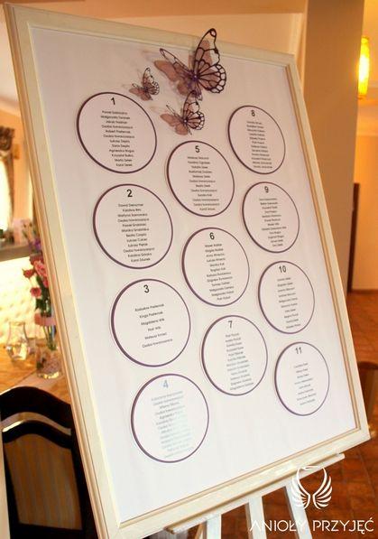 11. Butterfly Wedding,Table plan / Motylkowe wesele,Tablica z rozsadzeniem gości,Anioły Przyjęć