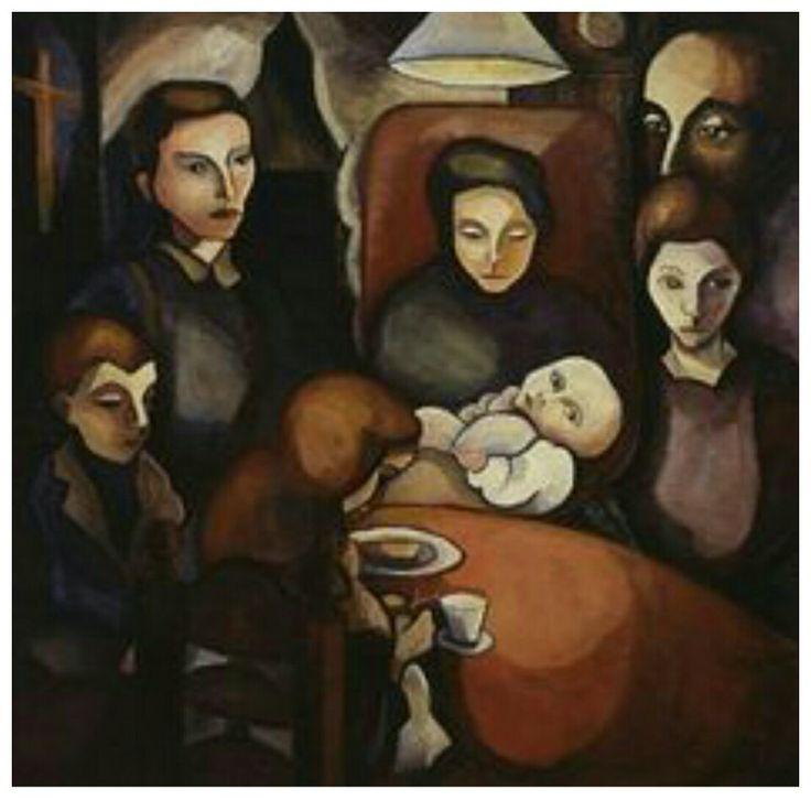 1920 het gezin in kamer bij lamplicht