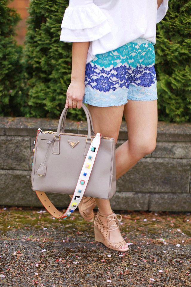 Lace Shorts + Prada Bag + Studded bag strap #fashionhandbags