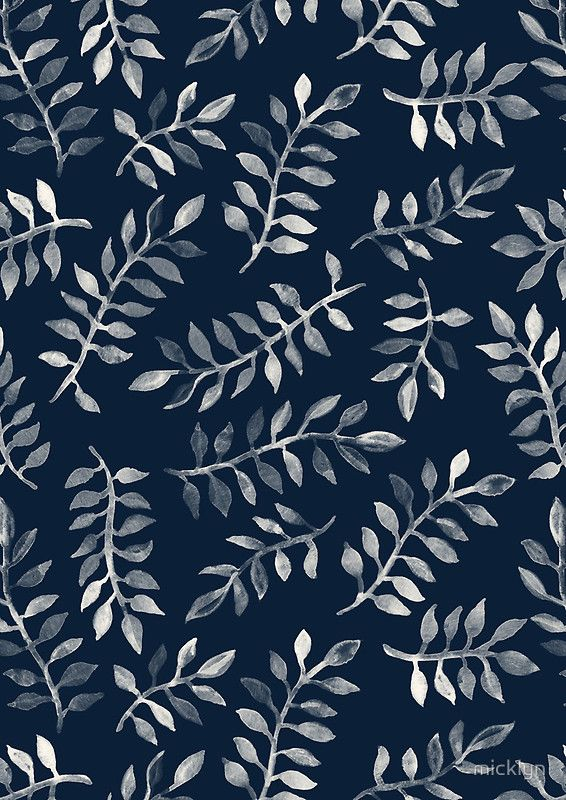 """""""White Leaves on Navy - a hand painted pattern"""" Photographic Prints by micklyn 
