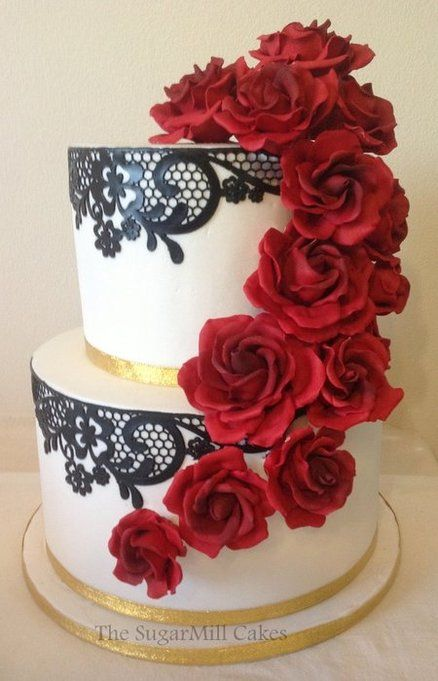 Black Lace And White Wedding Cake With Red Sugar Roses