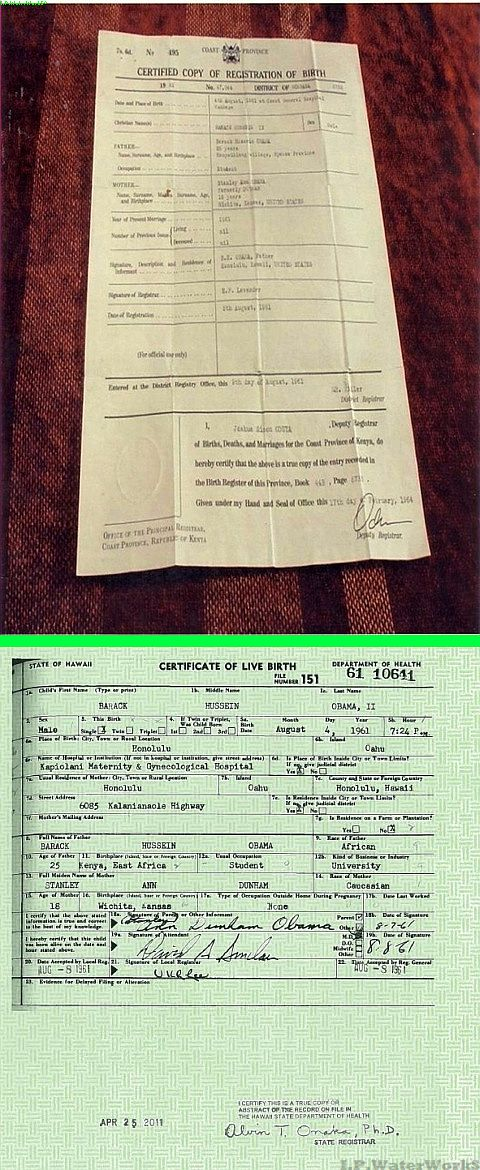 Fake - The top image is one of several phony Birth Certificates from Kenya for President Obama. - The bottom image is the real Birth Certificate from Hawaii.  http://www.truthorfiction.com/rumors/o/obama-kenya-fake-birth-certificate.htm