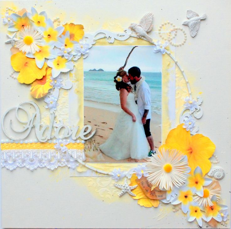 """""""Hau'oli Pu' u wai/ Happy Hearts"""" wk 5/52 - Scrapbook.com - Match the florals on your layout to the bride's florals for a lovely wedding layout."""