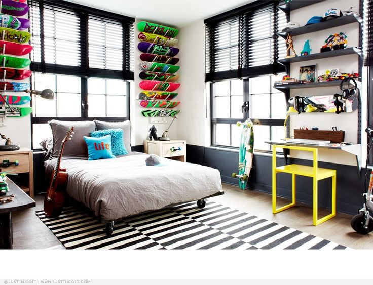 Interiors . Bedroom . Skateboards . Display . Gray . Rug . Stripes .