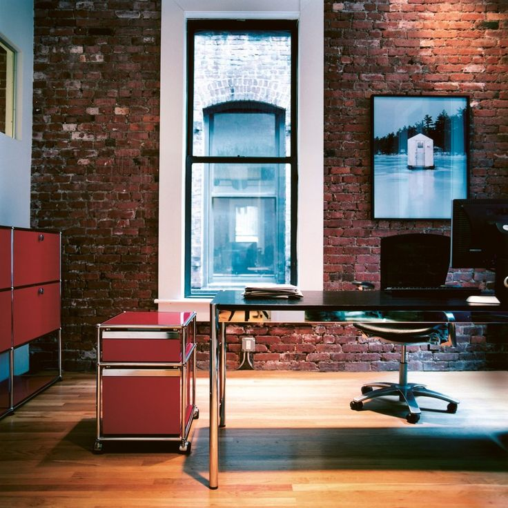 USM Modular Furniture | usm.com | Exposed Brick | Red Functional Furniture | Desk | Converted Warehouse | Inspirational Design | Trend | Get The Look | Warehouse Home Design Magazine