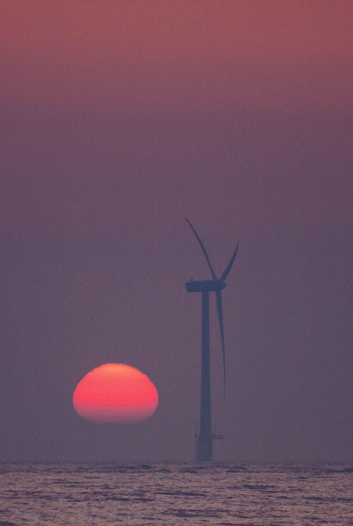 Dawn of the wind turbine - Caister-on-Sea, England, UK
