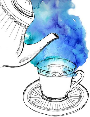 Tea illustration. watercolor idea- have them come up with their own idea for steam, smoke, etc. - watercolor that then line draw the rest