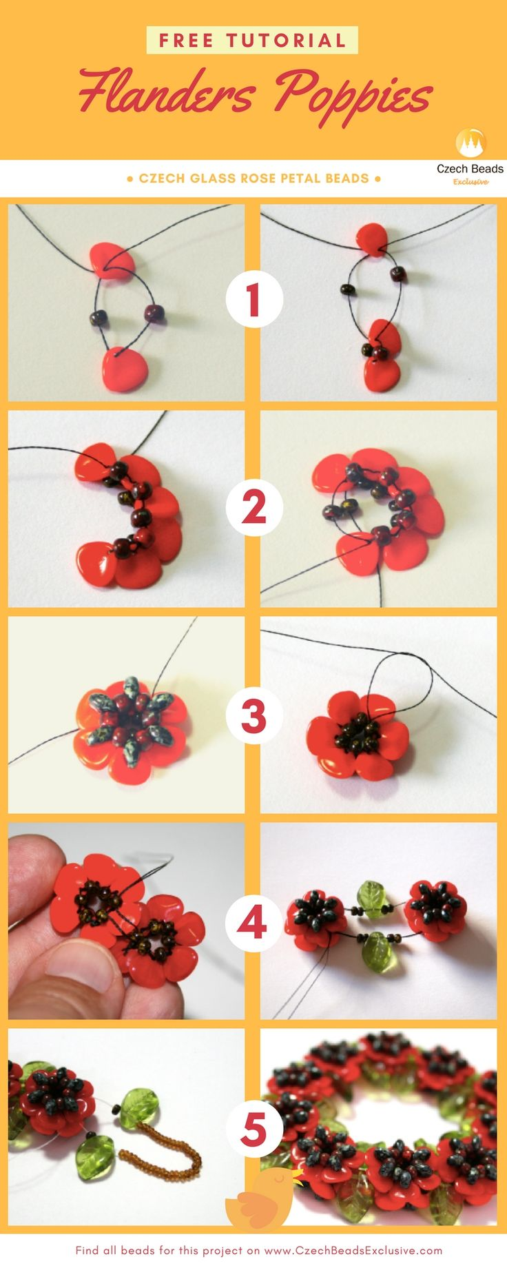 Free Tutorial - Czech Glass Rose Petal Beads - FLANDERS Poppies