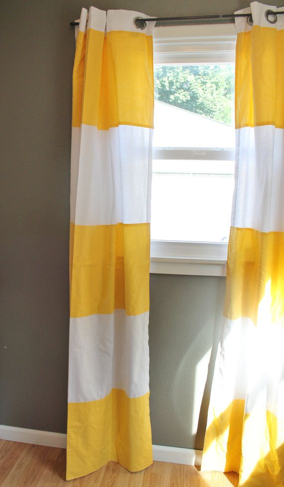 Modern Stripe Curtains in Lemon Yellow: Cabana Wide Stripe Drapes ...