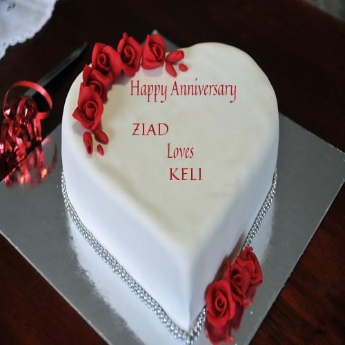 Write Couple Name On Red Rose Anniversary Cake Pic