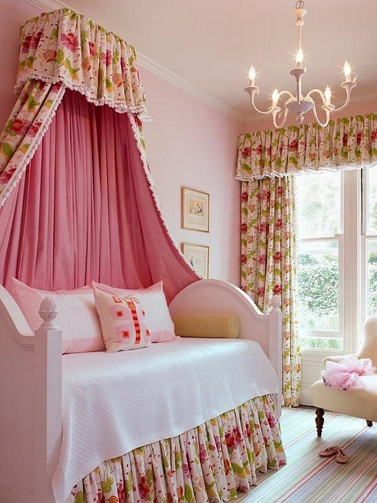 Girls Bedroom Decorating Ideas With Floral Canopy Curtain  The