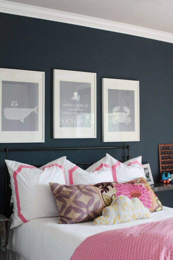 navy and pink color combination | Bedroom Decor ...