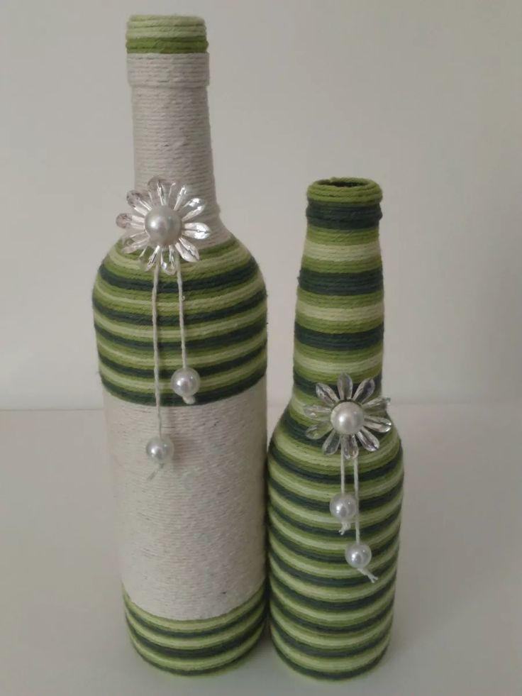garrafas decoradas com barbante