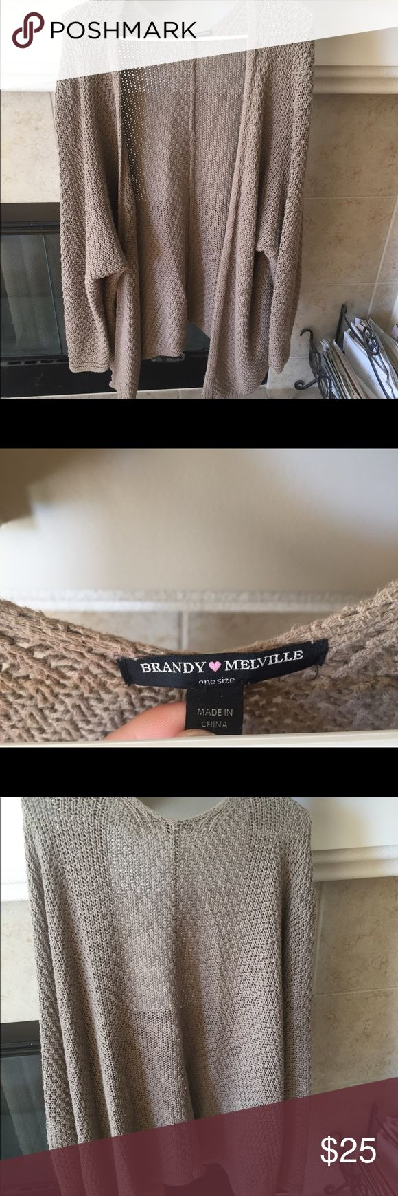 Brandy Melville cardigan Very long olive colored cardigan from brandy Melville. Lightly worn. Brandy Melville Sweaters Cardigans