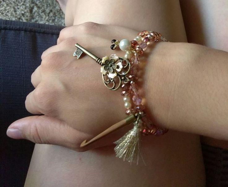 beaded charm key bracelet soft Crystal pink with pearls.  | Jewelry & Watches, Fashion Jewelry, Charms & Charm Bracelets | eBay!