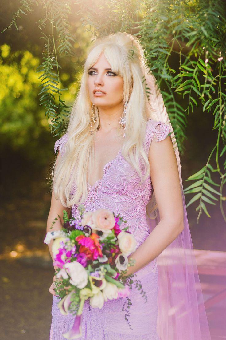 wedding dress lavender wedding dress Super Pi Day Wedding at The Madonna Inn Brigitte Bardot inspired look Lavender wedding dress makeup hair by Marla Verdugo