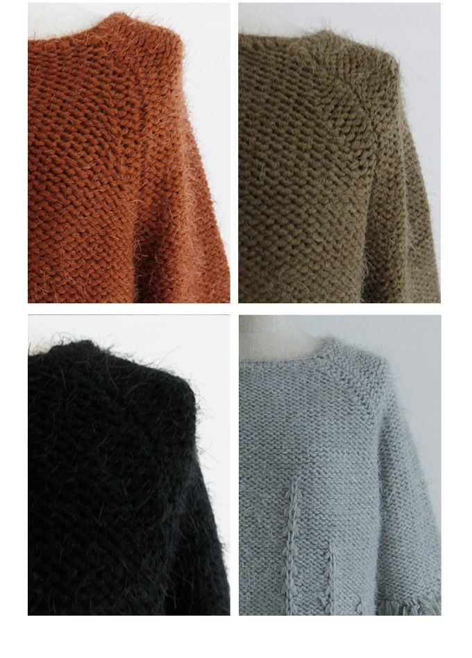 12月20日午前0:00再販《CLASSY.1月号掲載》《Domani12月号掲載》他雑誌掲載多数【Fringe mop knit】レディース フリンジ ニット