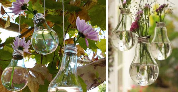 Tiny gardens made by using old light bulbs.