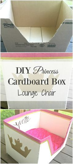 Here is a DIY toddler princess cardboard box lounge chair tutorial. This princess cardboard box is extremely easy to make and budget friendly.