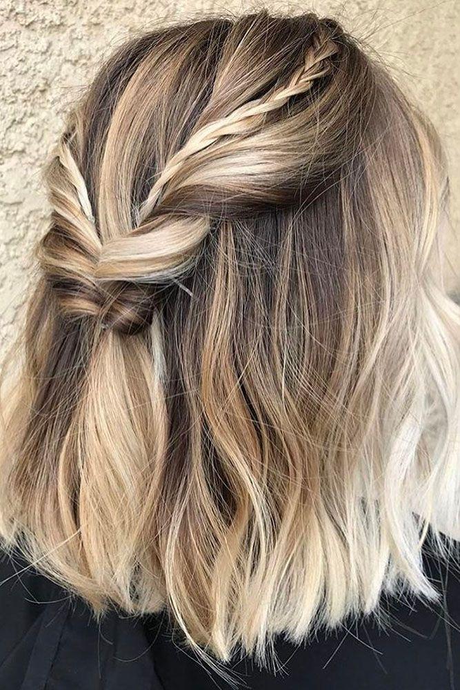 45 Perfect Half Up Half Down Wedding Hairstyles Balayage Kurze Haare Haarschnitt Kurz Haarfarben