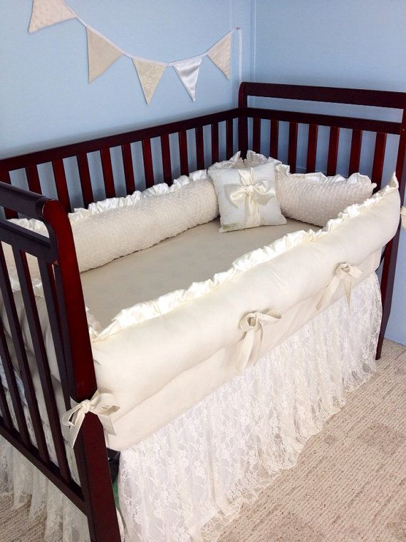 Lace Baby Crib Bedding - Ivory Cotton and Minky - Ruffled Lace Crib Skirt - Cotton Crib Sheet on Etsy, $410.00