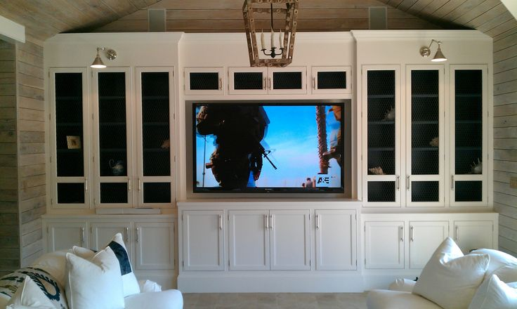 Builtin home theater – would love to do this with standard kitchen cabinets