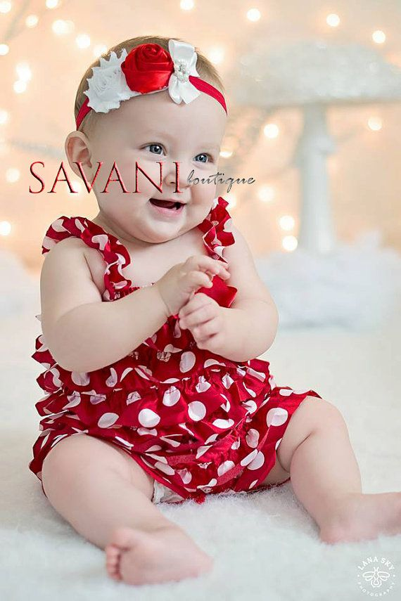 Baby Christmas red and white polka dots Romper by SAVANIboutique, $15.99