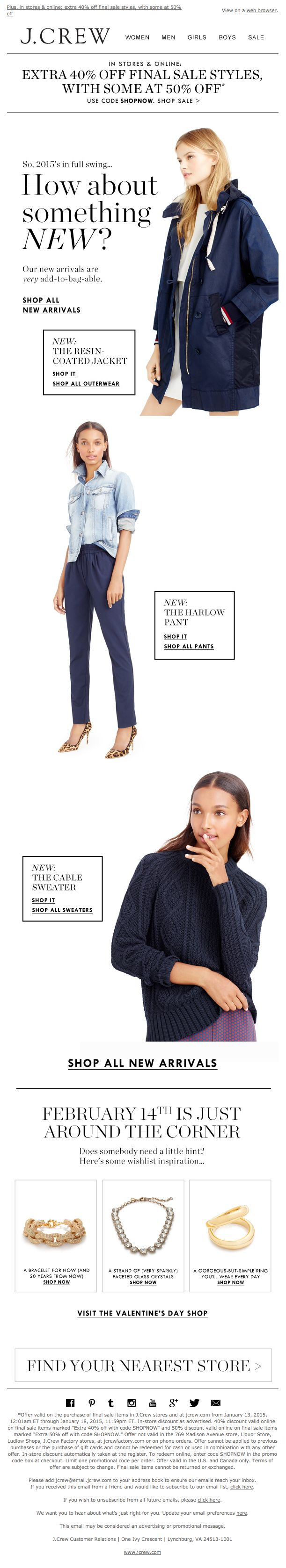 New arrivals email from J.Crew. #jcrew #emaildesign #arrivals