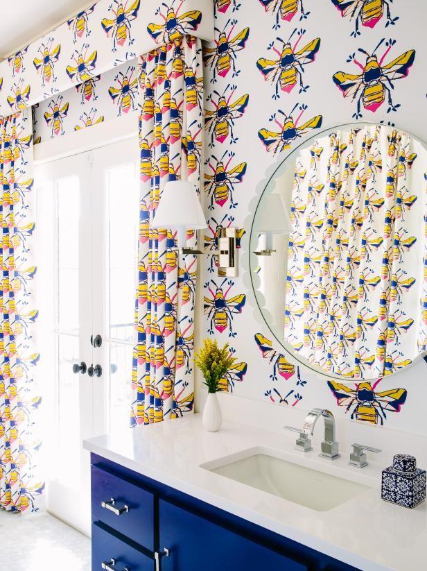 53 Ways To Use Bold Wallpaper In Your Bathroom Hgtv Com Hgtv Bold Wallpaper Bathroom Wallpaper Eclectic Bathroom