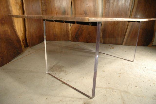 Carroll Custom Walnut Slab Dining Table With Acrylic Base Dumond 39 S Cust